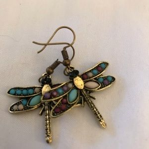 Multi ColoredvCrystals Dragonfly Shaped Earrings